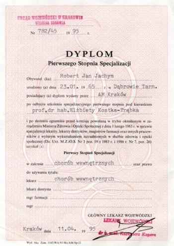 dyplom specjalizacji