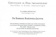 certyfikat Franfurt 180x120 - Krakowski dentysta: lek. dent. Barbara Borowska-Jachym