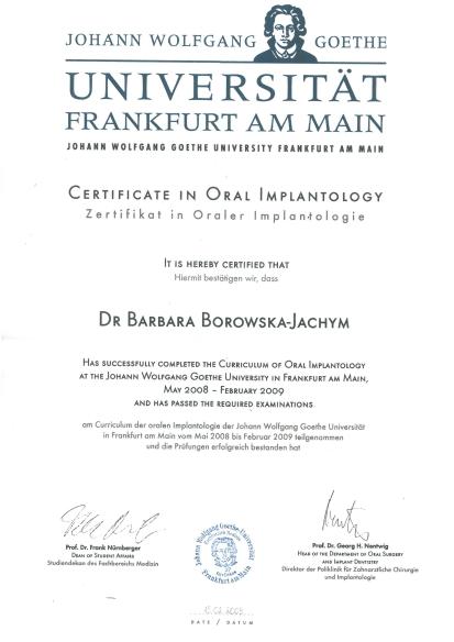 curriculum - Krakowski dentysta: lek. dent. Barbara Borowska-Jachym